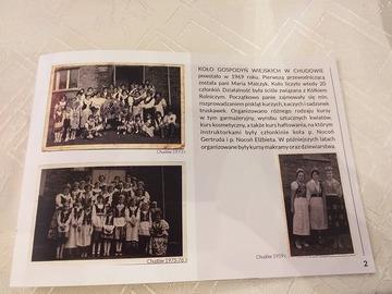 Kartka z krótką historią KGW Chudów i starymi zdjęciami