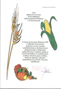 Podziękowania dla członkiń Koła Gospodyń Wiejskich w Przyszowicach