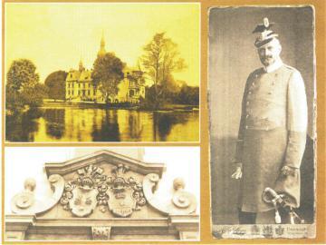 Przyszowice Pałąc rodzinny von Raczek wybudowany w Przyszowicach w XIX wieku, Herby rodowe rodziny von Raczek i von Ludwig nad portalem pałacu, Franz von Raczek w mundurze niemieckiego ułana